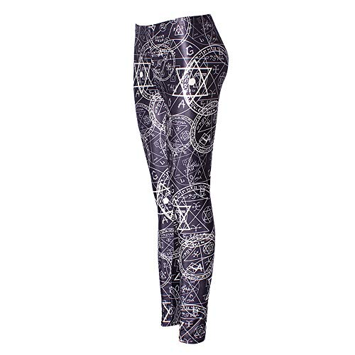 WFDDSD Lange Leggings mit hohem Bund - sexy Lederimitat Damen Leggins Hohe Taille Hüfthoch Strumpfhose Hose A02 L