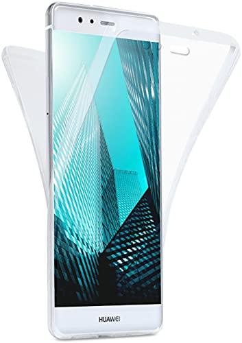 moex Double Hülle für Huawei P9 Hülle Silikon Transparent, 360 Grad Full Body R&um-Schutz, Komplett Schutzhülle beidseitig, Handyhülle vorne & hinten - Klar