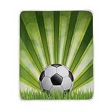 MATEKULI Decken,Fußballkugel Auf Gras,Neue weiche warme gemütliche Crystal Arctic Fleece Sofa Couch Bettdecke 127 * 152 cm (50x60 in)