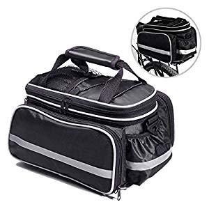 BODECIN Fahrradtasche, Outdoor Rucksack Fahrrad Rucksack Bike Gepäcktasche Gepäck Paket Rack Taschen Gepäckträger Tasche mit Regendichtes Abdeckung(Schwarz)