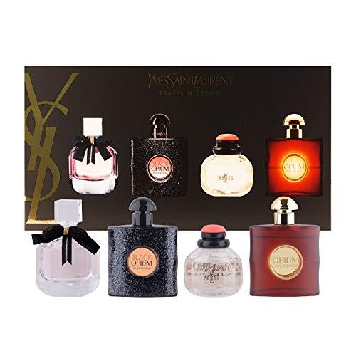 YVES SAINT LAURENT YSL Perfume Miniatures Travel Set for Women, Eau de Toilette & Eau de Perfume, Opium, Paris, Black Opium, Mon Paris, 7.5ml .25 oz.