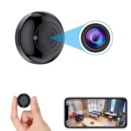 [2021 Version] FECOMI Mini Spy WiFi Camera 1080P Portable Wireless Nanny Cam w/Auto Night Vision/Motion Activated Alarm , Security Surveillance Cam Video /Audio Recording for Live Remote View