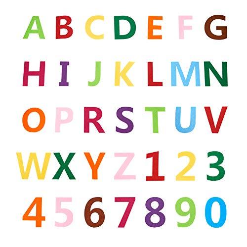 NBEADS Alfabeto Y Números de Fieltro, 2 Juego de Número de Tela Y 2 Juegos de Parches de Adorno de Letras de Fieltro para Decoraciones de Bricolaje Y Fabricación de Manualidades de Costura