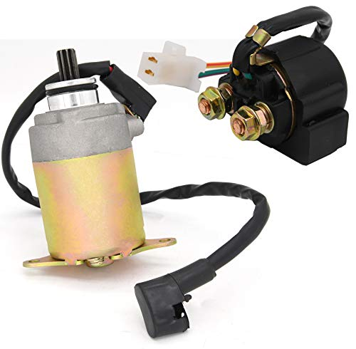 Starter Solenoid Relay + Starter Motor for 4-Stroke GY6 Engine 50cc 150cc 200cc 250cc ATV Dirt Bikes Scooters Go Kart Compatible with Taotao SUNL Coolster Baja Roketa 4 Wheelers Moped by BOOTOP