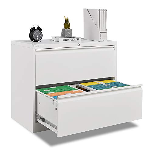 Bonnlo Lateral File Cabinet Lockable with 2 Drawers, White