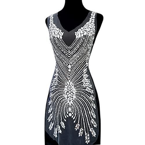 YUNSI Exquisito Hecho a Mano Diseño de Cuentas Coser en Rhinestones Lentejuelas Cristales Apliques Parche for Disfraces de Boda Decoración de Vestimenta (Color : White)
