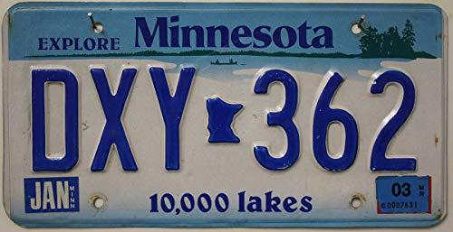 Original KFZ Nummernschild MINNESOTA , Kennzeichen US License Plate , USA Autoschild