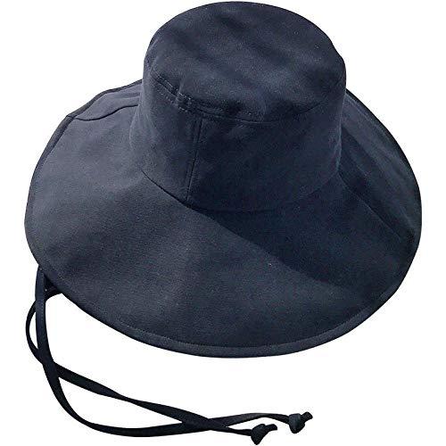 Bucket Hat Chapeau Solide Grandes Eaves Parasol Chapeau De Soleil Femmes en Plein Air Protection UV Protection Solaire Chapeau Respirant Joker Plage Ceinture Bonnet 56-58Cm Cordedeavesblack