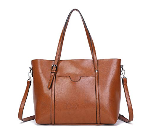 Dreubea Women's Soft Leather Handbag Big Capacity Tote Shoulder Crossbody Bag Upgraded Brown