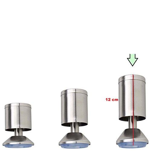 4X Möbelfüße verstellbar aus Edelstahl - vielseitig einsetzbare Füße für Möbel Sofa Schrank Tisch - Verschiedene Größen (12 cm)