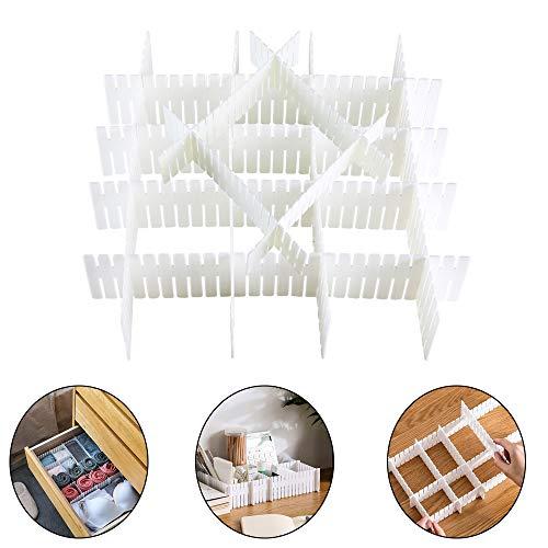 ETSAMOR 12 Piezas Ajustable Divisoras de cajones Cajón de plástico Rejilla Separadores Cajón Organizador Ropa Interior Calcetines Cinturón Escritorio Oficina Cocina Baño Maquillaje