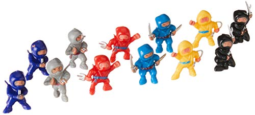 """Amscan Fun-Filled Birthday Party Mini Ninja Action Figure Favour (Pack of 12), Multicolor, 1 7/8"""" x 1"""" x 5/8"""""""