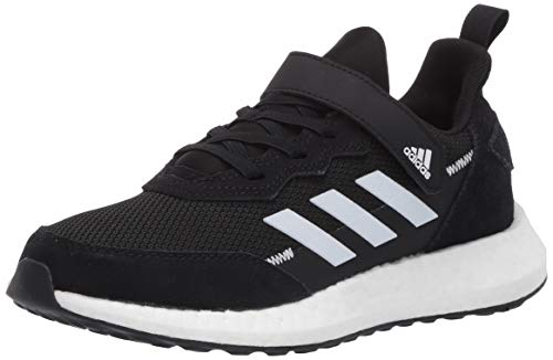 adidas Kids Unisex's RapidaLux Suede and Leather Running Shoe, core Black/FTWR White/Grey, 7 M US Big Kid