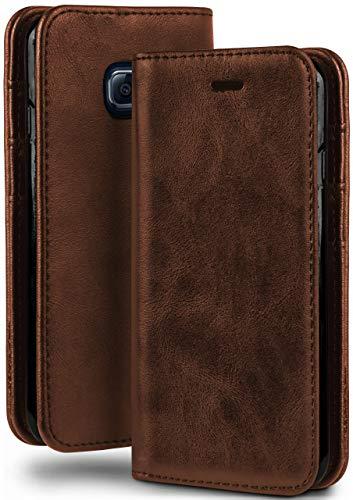 moex Booklet in Lederoptik - Kartenfächer und Aufstellfunktion passgenau für Samsung Galaxy S6 Edge | Eleganter 360 Grad Vollschutz, Sattel-Braun