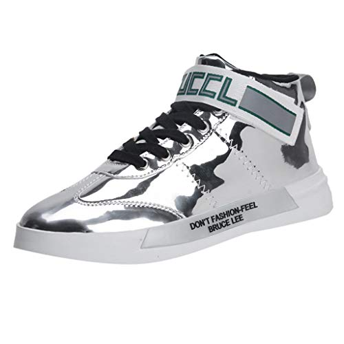 Find Bargain Men's Colorful Mirror Trend Sneakers Nightclubs Sequins High-Top Casual Shoes Autumn Wi...