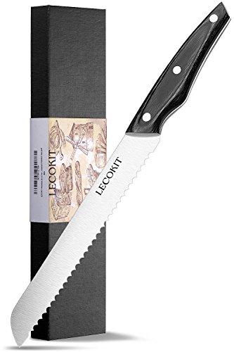 LECOKIT Profi 20cm Brotmesser mit Wellenschliff | Extra Scharfe Messerklinge | aus hochwertigem Rostfreier Stahl| Brotsäge ,Konditorsäge | Ergonomischer Komfort Holz-Griff