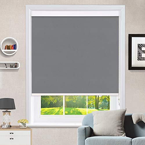 """MiLin Window Shades 100% Blackout Roller Shades with Premuim Metal Valance, Fast Delivery Roller Blinds Room Darkening Waterproof Thermal Insulated for Home & Office, Classic Gray 68"""" W x 48"""" H"""