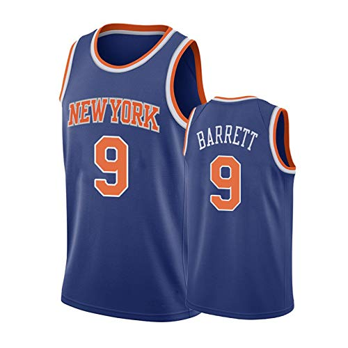 WGFI RJ Barrett # 9 Trikot, New York Knicks Herren Basketballtrikots, Fans Retro Mesh Sportweste, Besticktes Atmungsaktives Basketball Uniform T-Shirt Swingman Trikot Blue-M