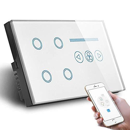 DOUBEI Interruptor de Ventilador de Techo Inteligente WiFi Tuya Smart Life App Control, Panel de Vidrio 147 * 86mm Compatible con Alexa Google Home