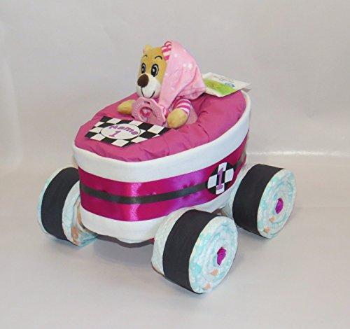 Windeltorte - Windelrennwagen Rennauto rosa
