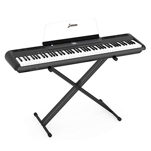 LAGRIMA LAG-560 Full Size Weighted Key Portable Digital Piano, 88 Key Electric Keyboard Piano with Stand, Bluetooth, Headphone, Sustain Pedal, Power Supply, Music Stand for Beginner/Adults, Black