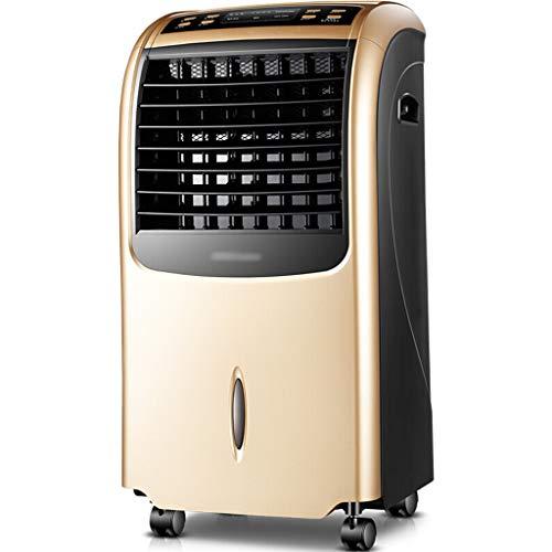 Ventilateur de climatisation multifonctions à double usage mobile domestique, radiateur électrique de ventilateur de tour de ventilateur électrique à télécommande (Color : Gold)