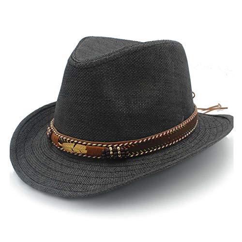 SSHZJUS Sombrero de Panamá Sombrero for el Sol Sombrero de Rafia Jazz for Mujer Sombrero de Paja Cuero Trenzado Transpirable Pluma de Metal Decorado Playa for Hombres