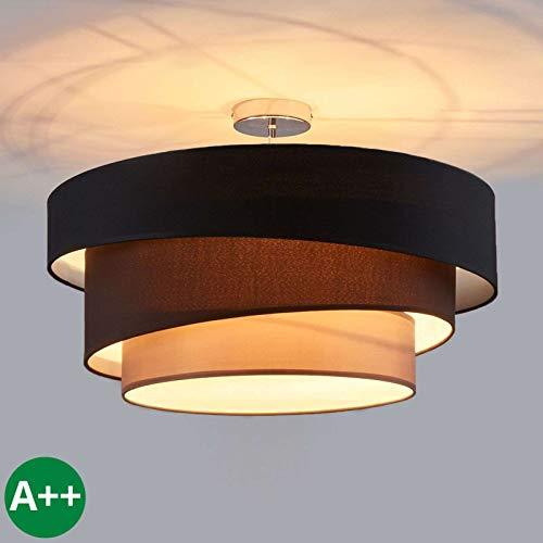 Lindby Deckenlampe 'Melia' dimmbar (Modern) in Schwarz aus Textil u.a. für Wohnzimmer & Esszimmer (3 flammig, E27, A++) - Deckenleuchte, Lampe, Wohnzimmerlampe