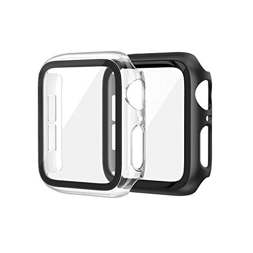 EDIMENS 2 Pack Hard PC Case Compatible with Apple Watch Series 6 / SE / 5 / 4 44mm Women Men, Overall PC Case Slim Tempered Glass Screen Protector Protective Cover for Apple iWatch 44mm SE Black Clear