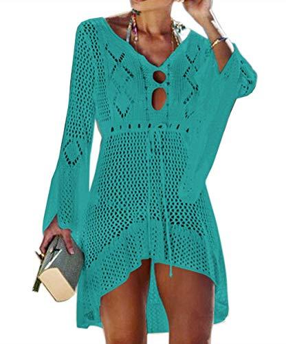 Jinsha Abito da Spiaggia Allentato da Donna Bikini Allentato a Manica Lunga con Scollo a V Coprire Costumi da Bagno Coprire Tunica fluida Camicetta per Le Vacanze(Green)