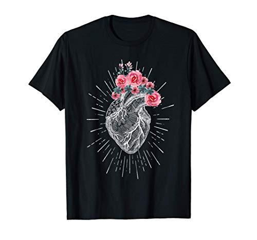 Regalo Corazón anatómico humano con flores para cardiólogos Camiseta