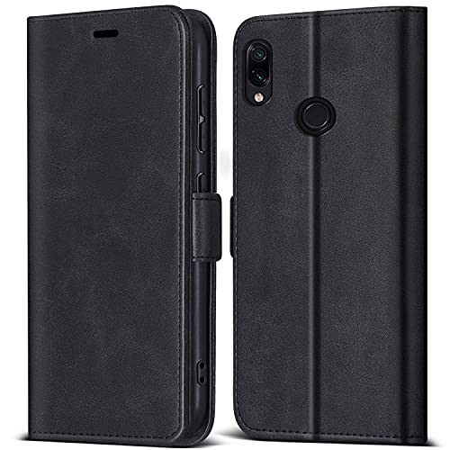 ZONNAVI Hülle für Xiaomi Redmi Note 7 / Redmi Note 7 Pro, PU Leder Handyhülle Magnetic Closure Schutzhülle, Klapphülle Handytasche Hülle für Xiaomi Redmi Note 7 / Redmi Note 7 Pro (Schwarz)