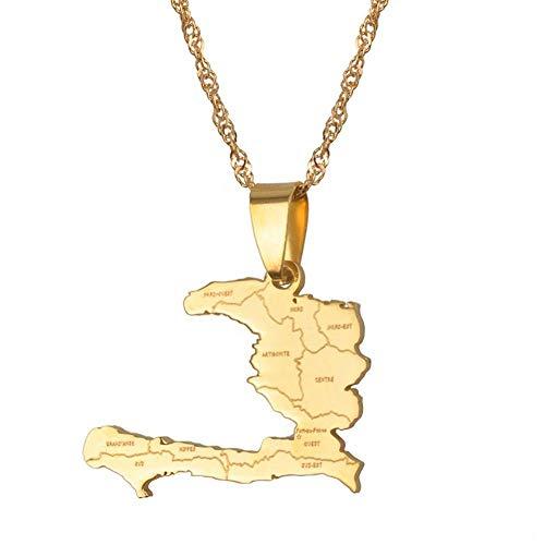 NSXLSCL Vrouwen Hanger Ketting, Mode Haïti Land Kaart Met Staat Naam Hanger & Kettingen Voor Vrouwen/Meisjes, Gouden Sieraden Geschenken Kaart Van Haitiwomen'S Daily Life Kleding Accessoires