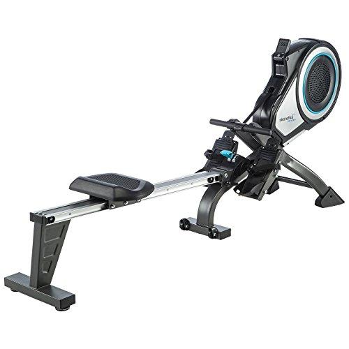 skandika Elite Pro - Rameur à air Pliable avec Ceinture Cardio - 8 Niveaux de...