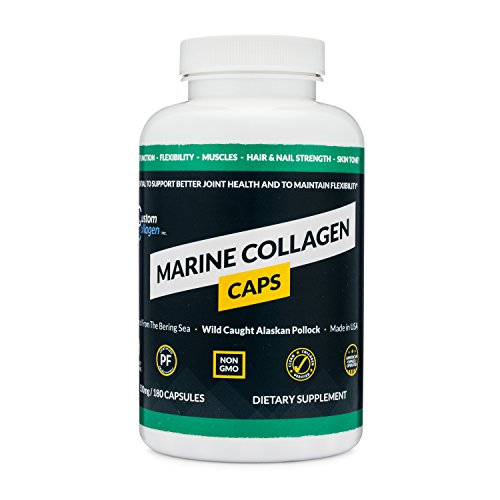 Marine Collagen Peptides Capsules (180 Count) - Clean Marine Collagen Supplement - Made from Wild Caught Fish - Kosher, Paleo, Non-GMO, Unflavored - Made in The USA