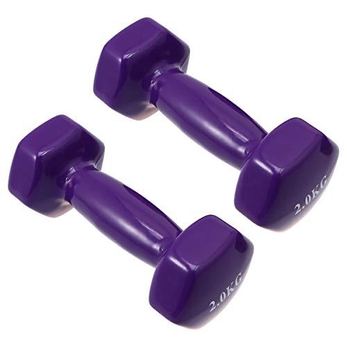 Wakauto Set di 2 manubri in plastica, in ghisa, per allenamento a casa, per donne e donne, bambini, braccia, braccia, manubri pilates, impermeabili e antiscivolo (2 kg)