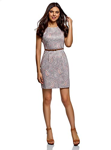oodji Ultra Damen Tailliertes Ärmelloses Kleid, Grau, XL