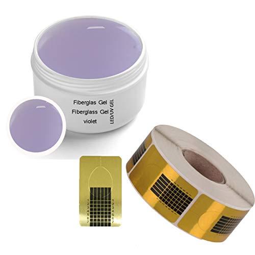 Gel UV fibre de verre VIOLET 30 ml INCL. 500 modèles de modelage SET - Gel de finition gel adhésif pour accumulation de gel