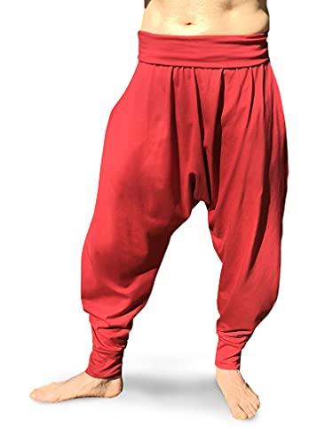 Pantalones Yoga Pilates Harem Etnicos Uniforme Comodos Hombre Mujer Lisos Negro Gris Marino Blanco Tallas Adulto y Tallas Grandes 2XL (Vino, M)
