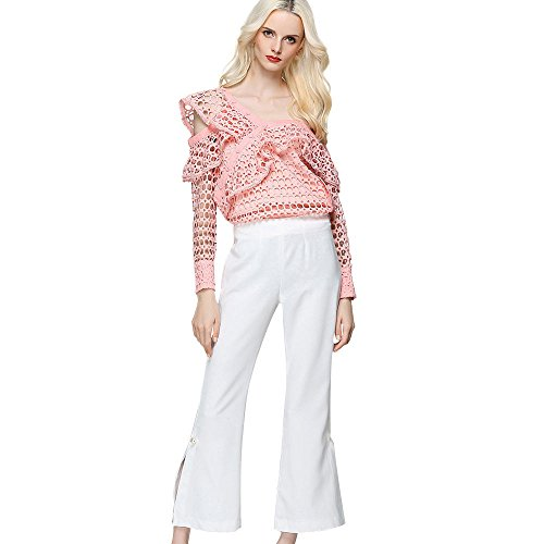 Yvelands Pullover IrréGulièRe Chemise Maille Creux Sexy Top ÉPaule sans Bretelles T-Shirt(Rose,Large )