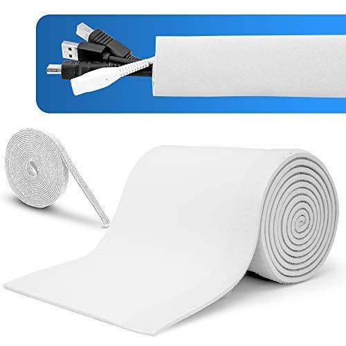 MAKONA® Premium Kabelschlauch weiß aus Neopren (2m) - mit praktischem Klettkabelbinder (3m) - für hochwertiges Kabelmanagement oder idealer Kabelschutz - Durchmesser einstellbar …