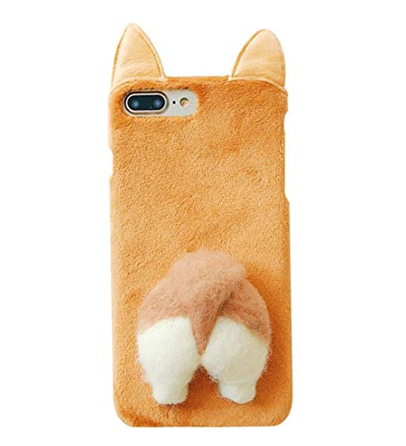 UnnFiko Soft Fur Case for iPhone 7 Plus, Cartoon Funny Cute Puppy Plush Animal Cat Butt Corgi Tail Brown Ear Hair Creative Design 8 Plus Case for Girls Women (Brown Corgi, iPhone 7 Plus / 8 Plus)