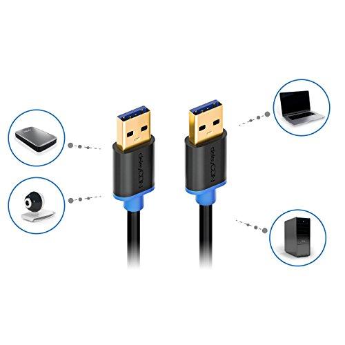 deleyCON 0,5m USB 3.0 Super Speed Kabel - USB A-Stecker zu USB A-Stecker - Übertragungsraten bis zu 5Gbit/s - Schwarz/Blau