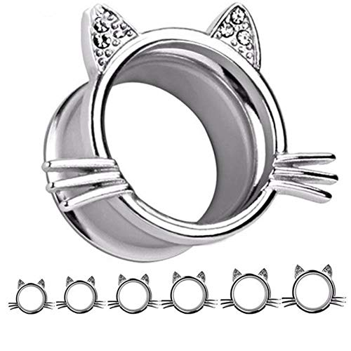 Dilatadores de oreja expansores con forma de gato, 5 unidades, dilatadores de acero inoxidable, para hombres y mujeres (color de la piedra principal: 6 mm, color del metal: plata).