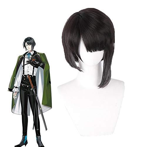 Anime Touken Ranbu Online Matsui Gou Cosplay pelucas negro gris degradado corto peluca de pelo sinttico