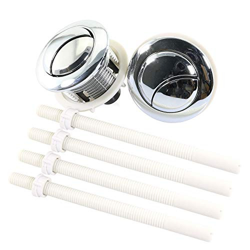 Magic&shell Toilet Button 2PCS 38mm Dual Push Toilets Flush Button Toilet Tank Button with Thread Diameter Silver for Water Valve