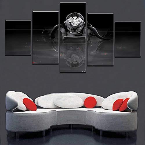 PANPAN Arte Moderno para Pared, 5 Piezas, atención al Suelo, Reflejo, Cuadro Modular, Lienzo, Pintura, decoración del hogar