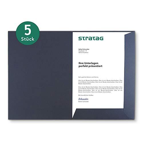 Präsentationsmappe A4 in Marineblau 5 Stück (wählbar) - erhältlich in 7 Farben - direkt vom Hersteller STRATAG - vielseitig einsetzbar für Ihre Angebote, Exposés, Projekte oder Geschäftsberichte