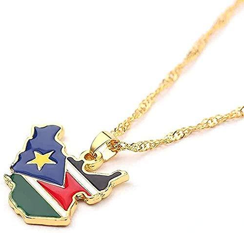 BACKZY MXJP Collar Collar La República De Sudán del Sur Mapa Bandera Collares Pendientes Joyas De Color Dorado Mapas De Sudán del Sur Regalos para Fanáticos Nacionales Étnicos