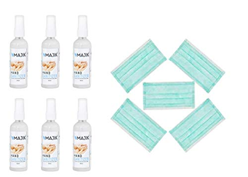Majik 100 ML Hand Clean Sanitizer Prevents From Virus, Allergies, And Germs (Set Of 6 Pcs With Free 5 Pcs...